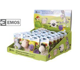 LED kľúčenka EMOS plastová, prívesok zvieratko so zvukom farma, box 24ks