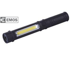 LED pracovná lampa EMOS 3W COB LED + 1 LED, na 3x AAA - Čierna