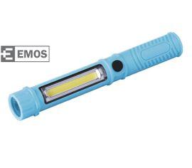 LED pracovná lampa EMOS 3W COB LED + 1 LED, na 3x AAA - Modrá