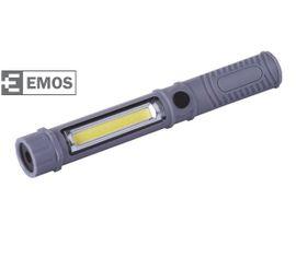 LED pracovná lampa EMOS 3W COB LED + 1 LED, na 3x AAA - Šedá