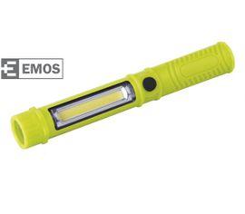 LED pracovná lampa EMOS 3W COB LED + 1 LED, na 3x AAA - Zelená