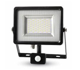 LED reflektor SMD 50W 4000lm SLIM čierno-šedý so senzorom
