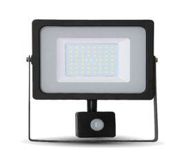 LED reflektor SMD 50W 4250lm SLIM čierny so senzorom