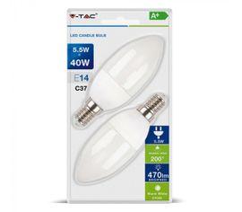 LED žiarovka V-TAC E14 5,5W, 470lm, C37, sviečka - 2ks blister