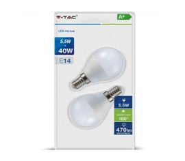 LED žiarovka V-TAC E14 5,5W, 470lm, P45 - 2ks blister