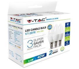 LED žiarovka V-TAC E14 5,5W 470lm sviečka - 3PACK