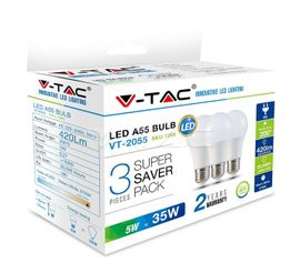 LED žiarovka V-TAC E27 5W 420lm A55 - 3PACK