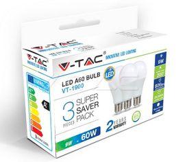 LED žiarovka V-TAC E27 9W 806lm A60 - 3PACK