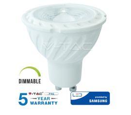 LED žiarovka V-TAC GU10 6,5W, 450lm, 110°, Stmievateľná, SAMSUNG CHIP - 5 ROČNÁ ZÁRUKA!