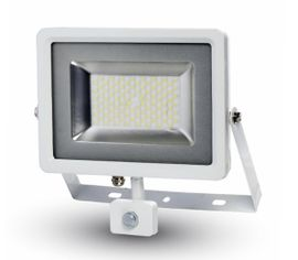 LED reflektor SMD 50W 4000lm SLIM biely so senzorom