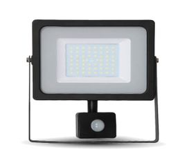 LED reflektor SMD 50W 4250lm SLIM čierny so senzorom