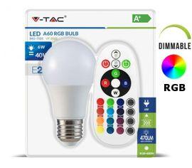 LED žiarovka V-TAC E27 6W, 470lm, RGB + IR diaľkové ovládanie