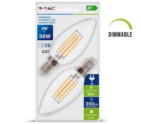 LED žiarovka V-TAC, E14, 4W, 350lm, Stmievateľná, Filament, C37, číra - 2ks blister