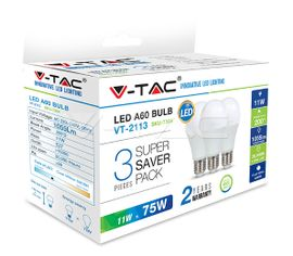LED žiarovka V-TAC E27 11W 1055lm A60 - 3PACK