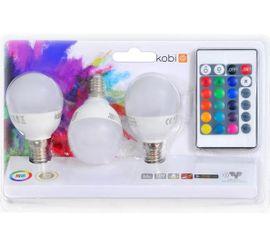 LED žiarovka E27 3,5W, 200lm, RGB + Teplá biela, IR diaľkové ovládanie, 3ks
