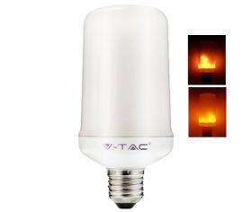 LED žiarovka V-TAC, E27, 4W, 280lm, Imitácia ohňa-Fakľa, mliečne sklo