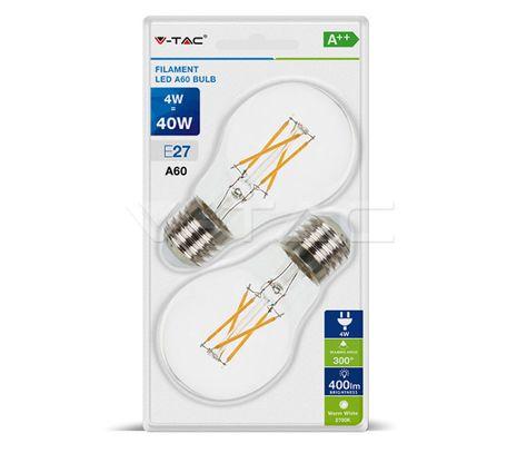 LED žiarovka V-TAC, E27, 4W, 400lm, Filament, A60, číra - 2ks blister