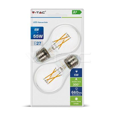 LED žiarovka V-TAC, E27, 6W, 660lm, Filament, A60, číra - 2ks blister