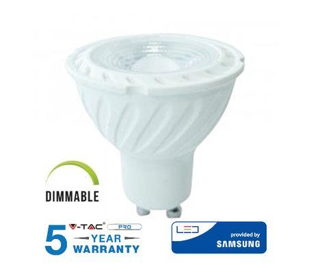LED žiarovka V-TAC GU10 6,5W, 450lm, 38°, Stmievateľná, SAMSUNG CHIP - 5 ROČNÁ ZÁRUKA!