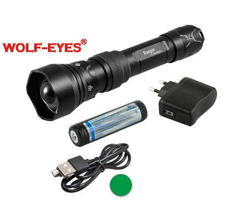 Nabíjateľná LED baterka Wolf-Eyes Ranger zelená LED, USB v.2017 - Praktik Set
