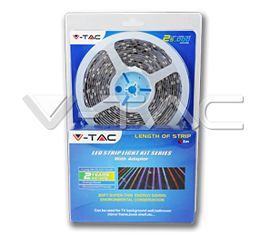 Set LED pás V-TAC SMD 5050, 5m, RGB, 10W/m, 1000lm/m, 60LED/m, IP20 + adaptér 230V/12V a IR ovládač
