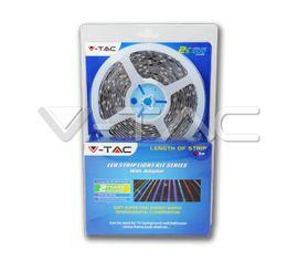Set LED pás V-TAC SMD 5050, 5m, RGB, 9,6W/m, 1000lm/m, 60LED/m, IP65 + adaptér 230V/12V a IR ovládač (2155+3008+3304)